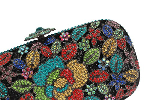 Shiny Square Women's with Bright Floral Diamonds Yilongsheng Multicolor Darkgrey amp; Clutches Bags Crystal Evening Colored and w45dnpAqE