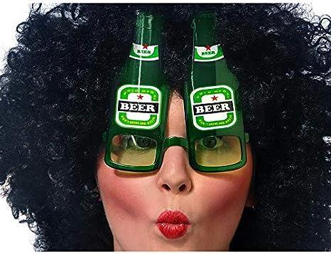 PartyDeco Ojos de Sol en Forma de Botellas de Cerveza, Color Verde, Adulto OKR15
