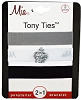 Mia Tony Ties with Charms, Grey, White with Crown, Black