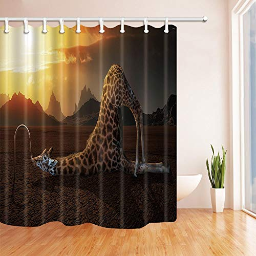 (Rrfwq Animal Shower Curtains for Bath Giraffe Lying to Drink Tap Water Against Burning Cloud and Mountain Polyester Fabric Waterproof 70.8 X 70.8 inches)
