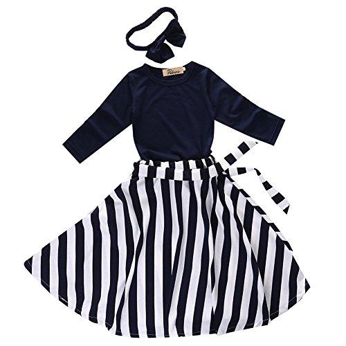Autumn New Eelegant Girl Children Stripe Set Skirt Four Piece-black and white (4-5Years)