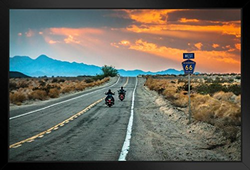 (Two Bikers Riding into Sunset on Route 66 Photo Art Print Framed Poster 14x20 inch)
