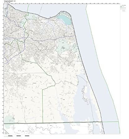 Amazon Com Zip Code Wall Map Of Virginia Beach Va Zip Code Map