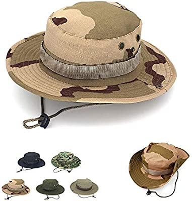 Wide Brim Hat Fishing Bucket Safari Sun Cap Military Camoflage Fishing Hat