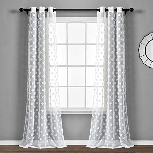 Lush Decor White Textured Dot Grommet Sheer Window Curtain Panel Pair 84″ x 38″