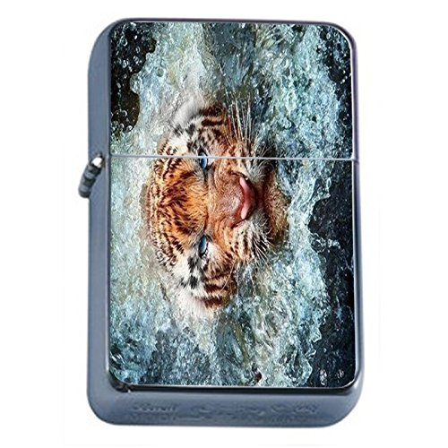 (Fierce Tiger Flip Top Oil Lighter Em1 Smoking Cigarette Silver Case Included)