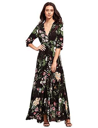 Milumia Women's Button Up Split Floral Print Flowy Party Maxi Dress X-Small Black_Green