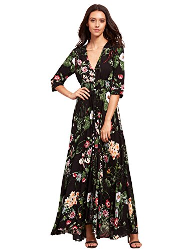 Milumia Women's Button Up Split Floral Print Flowy Party Maxi Dress Large Black_Green All Over Floral Embroidered Skirt