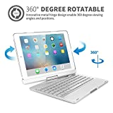 iPad Air 9.7 Inch Blacklit Keyboard with Case ,TechCode 7 Color Backlit Wireless Bluetooth Keyboard Case and Cover with 360¡ã Rotate Folio Slim Smart Keyboard Case Auto Sleep/Wake for iPad air,Silver