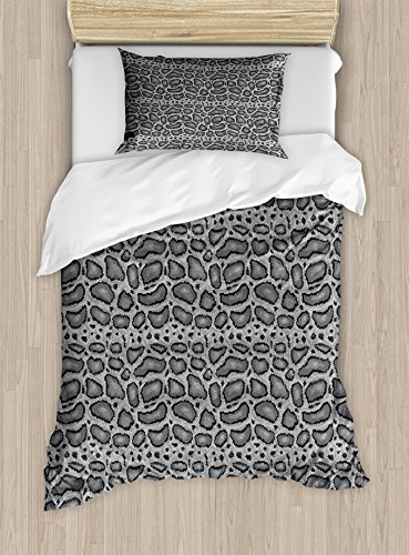 Reptile Duvet Cover Set Twin Size by Lunarable, Python Snake Skin Design Monochrome Abstract Animal Hide Pattern Geometric, Decorative 2 Piece Bedding Set with 1 Pillow Sham, Grey Charcoal Grey