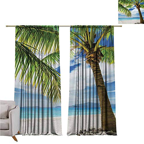 GUUVOR Lonely Palm Tree Wear-Resistant Color Curtain Sandy Beach Isolated Philippines Hot Sunny Travel Destination Waterproof Fabric W52 x L63 Inch Green Coconut ()