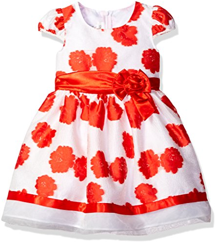 - Bonnie Jean Girls' Little Short Sleeve Side Sash Ballerina Party Dress, Coral Floral, 6