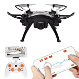 Quadcopter Drone with FPV Camera and Live Video,WiFi Quadcopter with Altitude Hold,Gravity Sensor Mode Function,Mini Drone Controlled by RC or Phone/Pad,Black