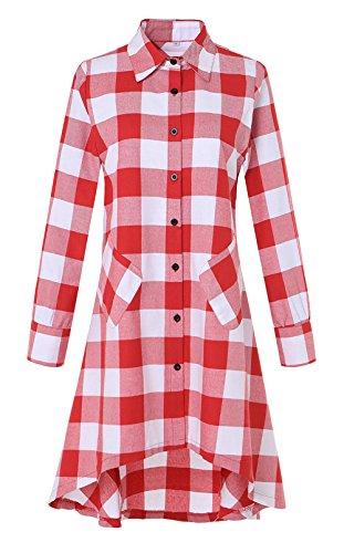 OLRAIN Womens New Plaids Irregular Hem Casual Shirt Dress Small White Red