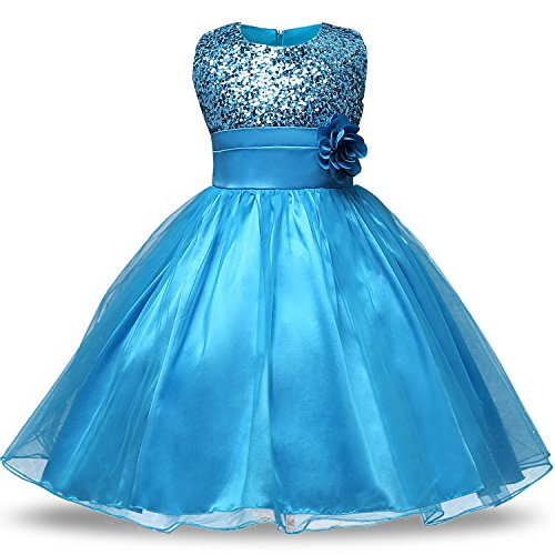 NNJXD Girl Flower Sequin Princess Tutu Tulle Baby Party Dress Size 5-6 Years Blue, - Blue Dress Girl Pageant Flower