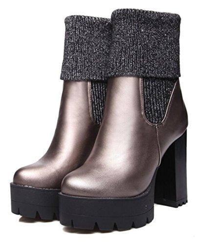 LINYI Zapatos De Punto De Cuero De Tacones Altos De Mujer Botas De Cabeza Redonda De Costura De Lana GunColor