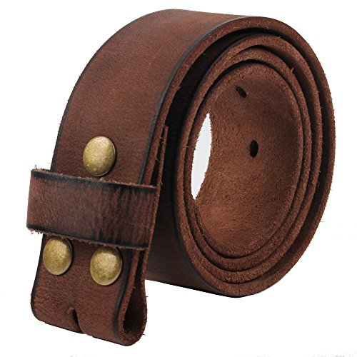 Distressed Leather Buckle (NPET Mens Leather Belt Full Grain 100% Leather Vintage Distressed Style Snap on Strap 1 1/2