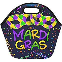 Insulated Neoprene Lunch Bag Colorful Mardi Gras Poster And Flyer Template With Large Size Reusable Thermal Thick Lunch Tote Bags For Lunch Boxes For Outdoors,work, Office, School