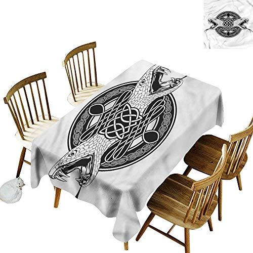 Waterproof Table Cover Celtic Heads of Two Snakes Tribal Table Cover for Kitchen Dinning Tabletop Decoratio 60