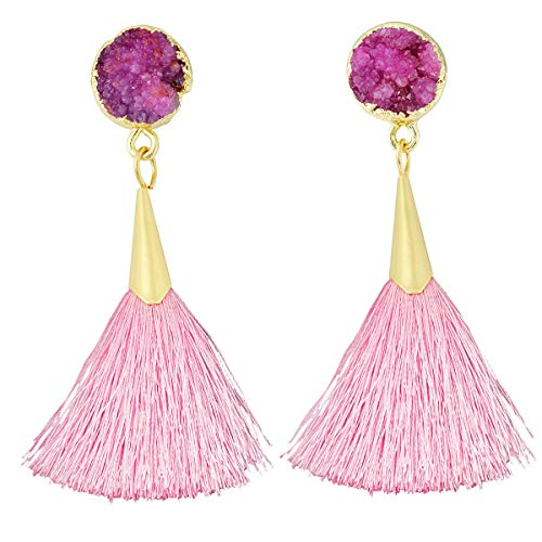 SUNYIK Bohemia Hot Pink Crystal Druzy Dangle Earrings for Women,with Pink Thread Tassel Drop Earrings ()