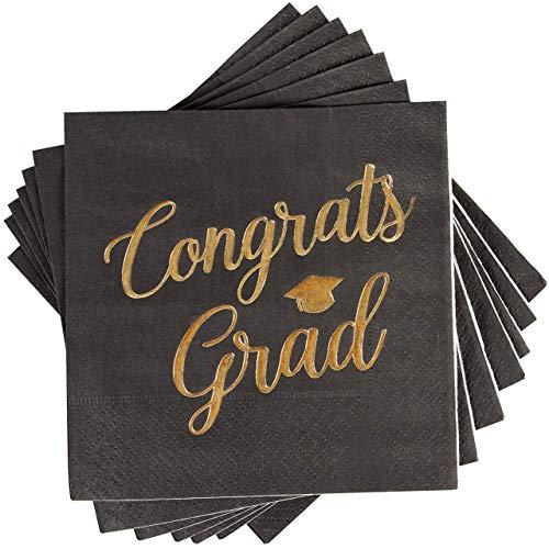"Cocktail Napkins - 50-Pack Graduation Party Napkins, Disposable Paper Napkins, 3-Ply, Congrats Grad Design, Black with ""Congrats Grad"" Gold Foil Print, 5 x 5 Inches"