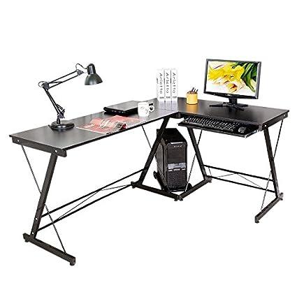 HLC, robusta scrivania per computer con forma ad angolo, con base per tastiera estraibile, con base per CPU, perfetta per la casa e l'ufficio Black HLC Metal Parts Ltd