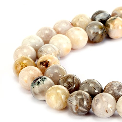 Quartz Leaf (BRCbeads Gorgeous Natural Bamboo Leaf Agate Gemstone Smooth Round Loose Beads 8mm Approxi 15.5 inch 45pcs 1 Strand per Bag for Jewelry Making)