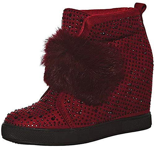 (shoewhatever Women's Faux Fur Strap Wedge Ankle Sneaker Bootie with Rhinestone Embellishment (Burgundy, 7.5))