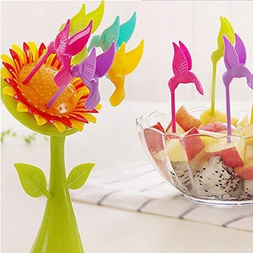 High5 Techmart Sunflower Shape Fruit Fork Set with Stand  Multicolor