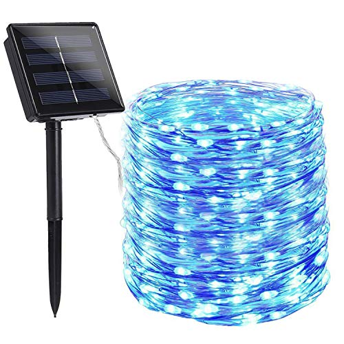 Toodour Solar String Lights 72ft 200 LED Solar Powered String Lights with 8 Lighting Modes, Waterproof Copper Wire Lights for Garden, Patio, Lawn, Landscape, Home Decor (Blue)