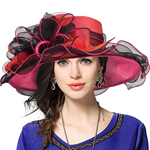 JESSE · RENA Women's Church Derby Dress Fascinator Bridal Cap British Tea Party Wedding Hat (Two-Tone-Hot Pink) (Rims Black Pink)