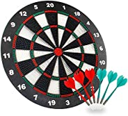 Theefun Safety Dart Board Set -16 Inch Rubber Dartboard Game with 6 Soft Tip Darts for Kids and Adults, Party,