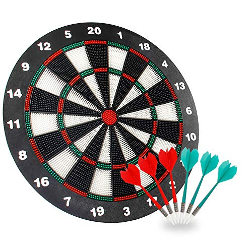 Theefun Dart Board Safety Set -16 Inch Rubber Dart Board with 6 Soft Tip Darts for Kids and Adults- Partys Office and Family Leisure Sport