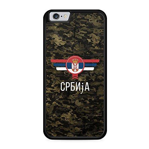 Srbija Serbien Camouflage mit Schriftzug - Hülle für iPhone 6 Plus & 6s Plus SILIKON Handyhülle Case Cover Schutzhülle - Serbia Flagge Flag Military Militär