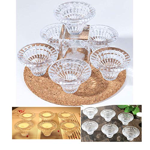 Pack of 6 Crystal Tealight Holder Candlestick Party Dinner Hand-cut ()