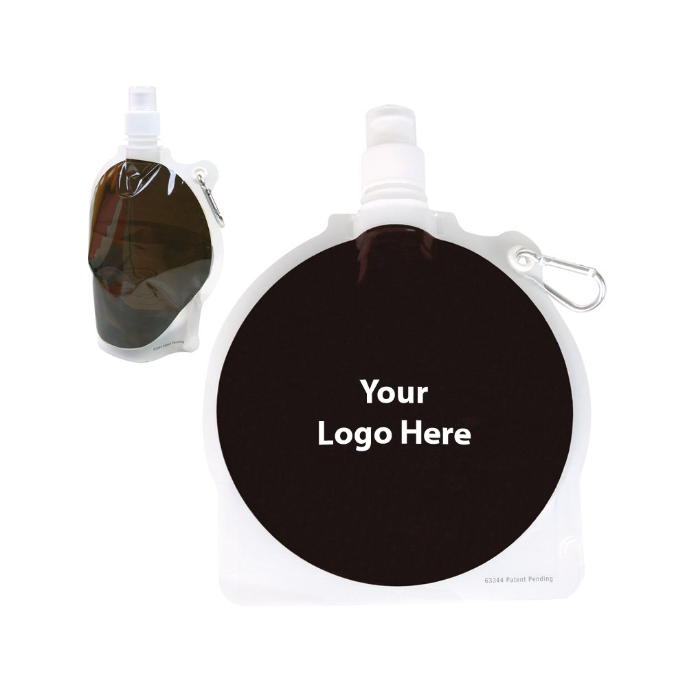 HydroPouch! 24 Oz. Hockey Puck Collapsible Water Bottle Patented - 100 Quantity - $3.40 Each - PROMOTIONAL PRODUCT / BULK / BRANDED with YOUR LOGO / CUSTOMIZED