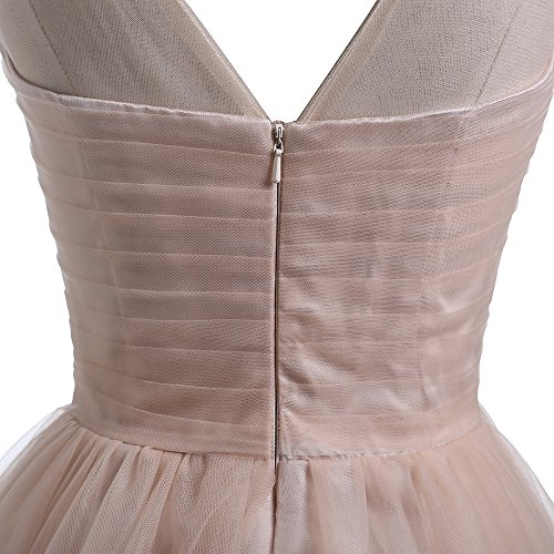 M Bridal Women's Appliques Illusion Neck Short Tulle Bridesmaid Homecoming Dress Champagne Size 12