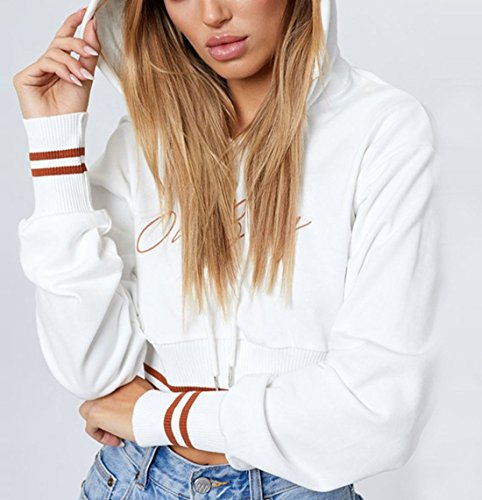 Jeune Capuche Tops Freestyle Sweat Femmes Longues Blouses Court Shirts et Pulls Hauts Automne Blanc Pullover Jumpers Manches Shirts Fashion Imprime Printemps Sweats Casual wqXgqYf