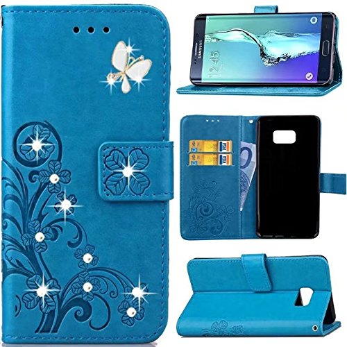 Blue Rhinestone Cover - Samsung Galaxy Note 4 Wallet Case,Butterfly Floral Lucky Flowers Bling Diamond Sparkle Crystal Rhinestone Wallet Flip PU Leather Card Holder Phone Case Cover For Samsung Galaxy Note 4,blue