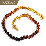 Hazelaid (TM) 14'' Pop-Clasp Baltic Amber Rainbow Round Necklace