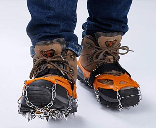 USHINING Ice and Snow Traction Cleats for Walking Runing,19 Stainless Steel Spikes Grips Crampon