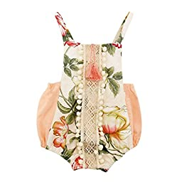 Weixinbuy Toddler Baby Girl Cotton Backless Bodysuit Romper Outfit Clothes
