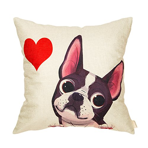 Fahrendom Cute Boston Terrier with a Red Heart Dog Lover Gift Cotton Linen Home Decorative Throw Pillow Case Cushion Cover for Sofa Couch 18 x 18 - Terrier Linen Pillow