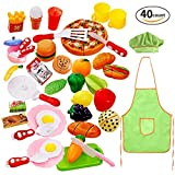 Cutting Play Food Set for Kids 40 Pcs Pretend Food Playset Kitchen Cooking Sets Toys Fake Plastic Foods for Educational Learning for Toddlers Kids Girls Boys Inspiring Imagination with Apron and Hat