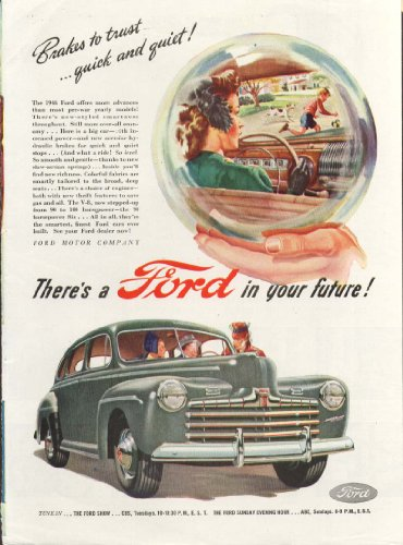 Ford Brakes to trust quick and quiet! Ad 1946