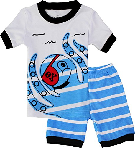Octopus Boys Pajamas Cotton 2 Piece Sleepwear Clothes Set for Kids Blue 5T (Pirate Clothing For Sale)