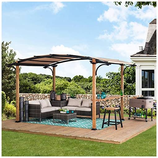 Garden and Outdoor Sunjoy Aura 8.5 x 13 ft. Steel Arched Pergola with Natural Wood Looking Finish, Tan pergolas
