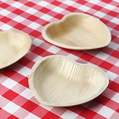 "100 Pcs Natural 6.6"" Heart Eco-Friendly Palm Leaf Disposable Plates"