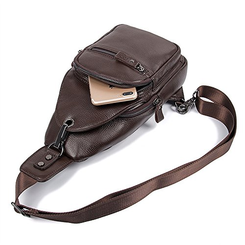 Bolsos Negro para Color Sling Wagsiyi Hombres de Backpack Marrón Chest Bag Paquete Diagonal Deportivo Crossbody Hombro Leather q4AwZTY
