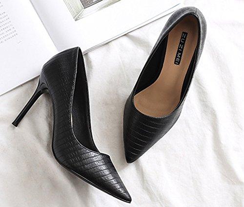 Aisun Femme Sexy Princesse Chaussures à Talon Haut Escarpins Noir 2MkFZT97d